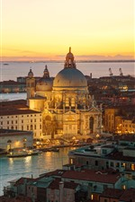 Italy, Venice, cathedral, river, water, night, city