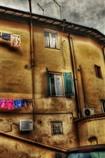 Preview iPhone wallpaper Italy, town, wall, houses, clothes, clouds, HDR style