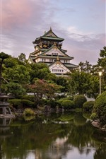 Japan, Osaka, castle, trees, pond, park