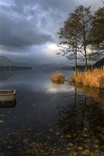 Preview iPhone wallpaper Lake, boat, grass, trees, clouds, dusk