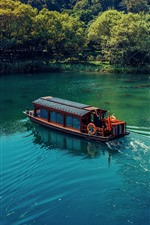 Preview iPhone wallpaper Lake, boat, trees, house, park, China