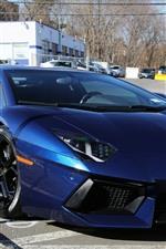 iPhone fondos de pantalla Vista frontal del supercar azul Lamborghini, carretera