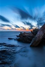 Preview iPhone wallpaper Lianyungang, Liandao, sea, rocks, dusk, China
