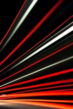 Preview iPhone wallpaper Light lines, speed, road, night