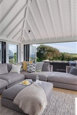 Preview iPhone wallpaper Living room, sofa, bright, villa