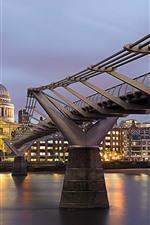 Londres, inglaterra, thames, ponte milênio, cityscape, noturna