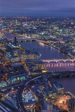 London, England, cityscape, buildings, river, roads, lights