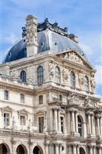 Louvre, buildings, statue, Paris, France