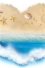 Preview iPhone wallpaper Love heart, beach, sea, starfish, white background