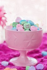 Preview iPhone wallpaper Love heart candy, colorful, cup, powder