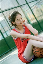 Preview iPhone wallpaper Lovely Chinese girl, sport, basketball