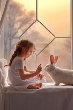 Preview iPhone wallpaper Lovely little girl and rabbit