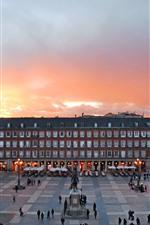 Madrid, Spain, city, exhibition center, square, dusk