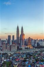 Malásia, cidade, arranha-céus, torre, anoitecer