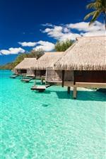 iPhone fondos de pantalla Maldivas, bungalows, mar azul, resort, tropical