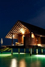 Maldives, house, sea, night, lights
