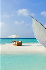 Preview iPhone wallpaper Maldives, sea, beach, sailboat, girl, bed