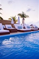 Maldivas, espreguiçadeira, mar, piscina, resort