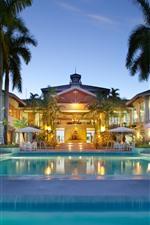 Preview iPhone wallpaper Maldives, villa, swim pool, palm trees, night, lights