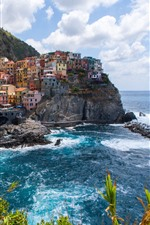 Preview iPhone wallpaper Manarola, Cinque Terre, Italy, bushes, sea, clouds