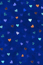 Preview iPhone wallpaper Many love hearts, blue background