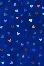 iPhone fondos de pantalla Muchos corazones de amor, fondo azul