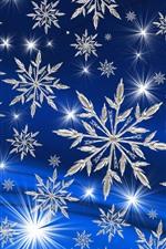 Many white snowflakes, stars, blue background