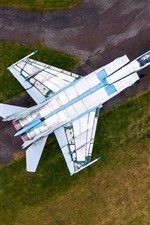 Preview iPhone wallpaper MiG-25 Fighter, top view, runway