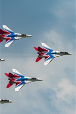 Preview iPhone wallpaper MiG-29 multi-role fighter, flight show
