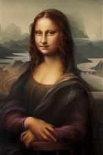 Preview iPhone wallpaper Mona Lisa, smile, digital art picture