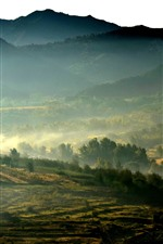 Preview iPhone wallpaper Morning, fog, mountains, fields, countryside