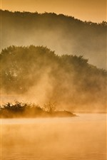 Preview iPhone wallpaper Morning, river, trees, fog, people