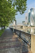 Moscou, Rússia, cidade, arranha-céus, rio, estrada, árvores