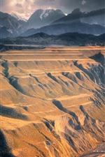 iPhone fondos de pantalla Montañas, nubes, valle, acantilado, río, paisaje natural.