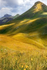 Preview iPhone wallpaper Mountains, grass, clouds, nature landscape