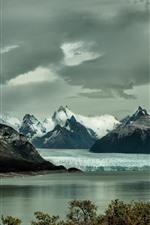 Preview iPhone wallpaper Mountains, iceberg, snow, lake, winter