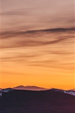 Preview iPhone wallpaper Mountains, orange sky, sunset