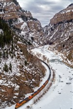 Preview iPhone wallpaper Mountains, snow, river, railroad, train, winter