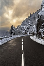 Mountains, snow, road, winter, clouds, dusk