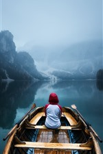 Preview iPhone wallpaper Mountains, trees, boat, lake, water reflection, fog, morning