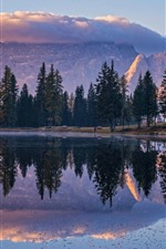 Preview iPhone wallpaper Mountains, trees, lake, water reflection, morning
