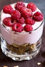 Preview iPhone wallpaper Muesli, yogurt, raspberry, glass cup