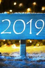 iPhone fondos de pantalla Año Nuevo 2019, letrero, árboles, nieve.