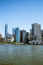 Preview iPhone wallpaper New York, Manhattan, USA, city, skyscrapers, sea