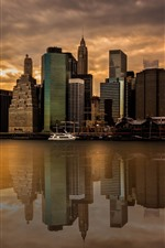 Preview iPhone wallpaper New York, skyscrapers, city, dusk, river, water reflection, USA