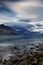 Preview iPhone wallpaper New Zealand, Lake Wakatipu, rocks, mountains, clouds