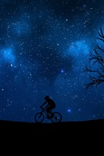Preview iPhone wallpaper Night, bikes, sport, tree, starry, blue sky, silhouette
