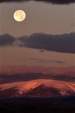Night, moon, mountains, clouds