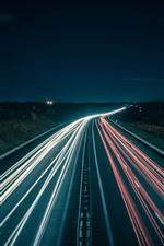 Night, road, light lines, speed