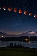 iPhone обои Ночь, небо, планеты, река